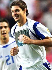 Angelos Charisteas celebrates Greece's winning goal