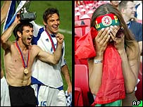 Greek football players and Portuguese fan