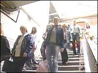 Passengers at Stockport station