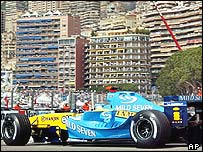 Jarno Trulli on his way to winning the Monaco Grand Prix