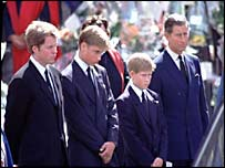 Earl Spencer, Princes William, Harry and Charles beside Diana's hearse
