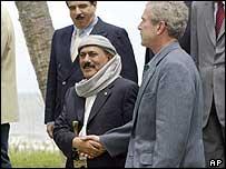 Yemen's President Saleh with US President Bush