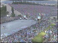 Greek fans gather in the old Olympic stadium in Athens to celebrate the country's triumph in Euro 2004