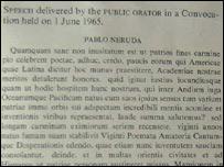 Discurso en lat�n para conceder a Neruda el grado de Doctor Honoris Causa en Oxford.
