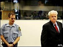 Former Yugoslav President Slobodan Milosevic in court on Monday