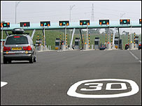 Toll gates at the M6 Toll near Birmingham