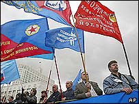 Russian workers protesting over unpaid wages