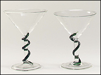 Martini glasses designed by Damien Hirst