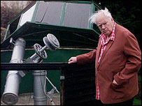 Sir Patrick Moore and telescope