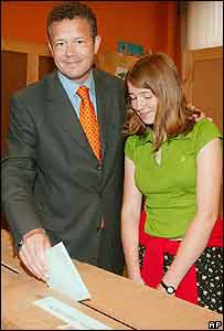 Vlaams Blok party chairman Frank Vanhecke voting in recent Belgian election with daughter Emma