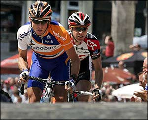 Dutch rider Bram De Groot and Germany's Jens Voigt