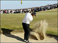 Thomas Bjorn at the 16th at Royal St George's