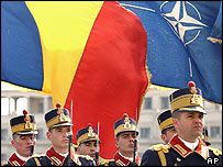 Romanian soldiers at Nato ceremony
