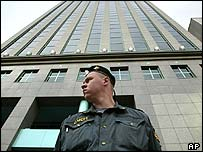 A Special Forces police officer outside Yukos HQ