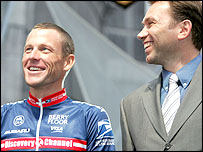 Johan Bruyneel (right) and Lance Armstrong
