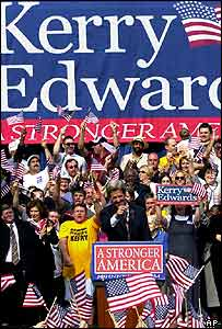 John Kerry at the rally in Pittsburgh with a huge Kerry-Edwards banner behind him, 6 July 2004