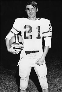 John Edwards in his North Moore High School Mustangs football kit in 1970