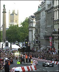 Jenson Button's BAR-Honda during the F1 parade in central London