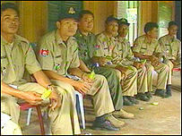 Police officers in Cambodia being taught about safe sex