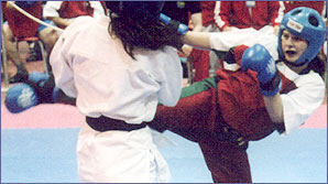 Young kickboxer Ashley Brace in action