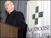 Archbishop John Vlazny announces that Portland has become the first archdiocese to declare bankruptcy