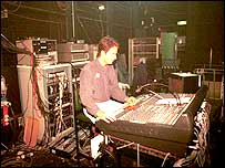 Man using mixing desk