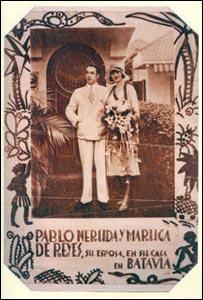 pablo Neruda y su primera esposa, Maruca Hagenaar. Foto: Fundación Pablo Neruda