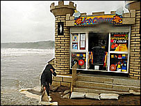 Rain pounds the beach at Scarborough