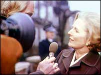 TV reporter interviews Margaret Thatcher