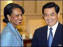 Condoleezza Rice with Hu Jintao in Beijing