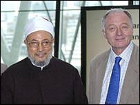 Sheikh Yusuf Al-Qaradawi and London Mayor Ken Livingstone