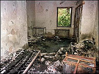 Burnt out dormitory room in Iran