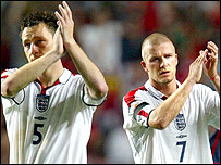 England players Wayne Rooney and David Beckham
