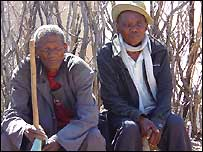 Chief Maiteela Segwaba (r) and his friend in a San resettlement camp in Botswana
