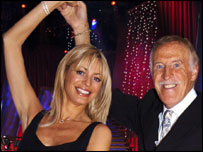 Tess Daley and Bruce Forsythe present the celebrity dancing