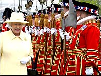 The Queen with the Yeoman of the Guard