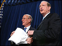 Republican Chairman Pat Roberts (left) and Democrat Vice Chairman Jay Rockefeller (right)
