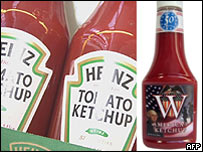 Heinz ketchup, and its new rival, W ketchup