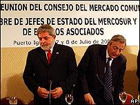 Luiz Inacio Lula da Silva, presidente de Brasil y Néstor Kircher, presidente de Argentina.