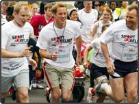 Prince William (centre) with TV presenter Patrick Kielty (left) and celebrity chef Gordon Ramsay taking part in the Sport Relief London Mile