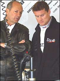Ron Dennis and David Coulthard talk tactics at Silverstone