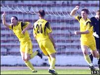 Vetra celebrate their winning goal