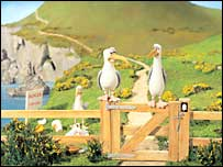 'Creature Comforts' seagulls, designed by Aardman