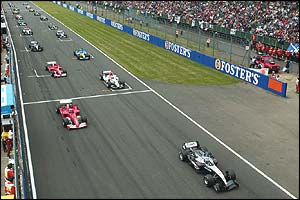 Kimi Raikkonen leads the field