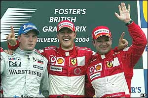 Kimi Raikkonen, Michael Schumacher and Rubens Barrichello