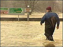 Llanrwst was flooded in February