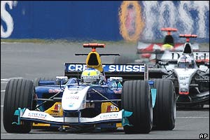 Giancarlo Fisichella of Sauber and David Coulthard of McLaren