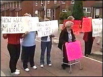 Women protested on the Ligoniel Road on Sunday