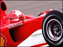 Michael Schumacher in action at Silverstone