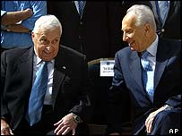 Ariel Sharon and Shimon Peres at Independence Day ceremony in April